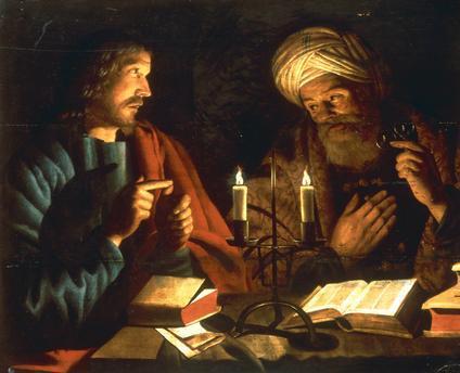 Nikodémus komt naar Jezus toe als het al donker is